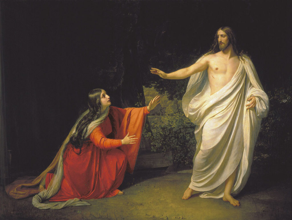 Mary Magdaline sees Christ